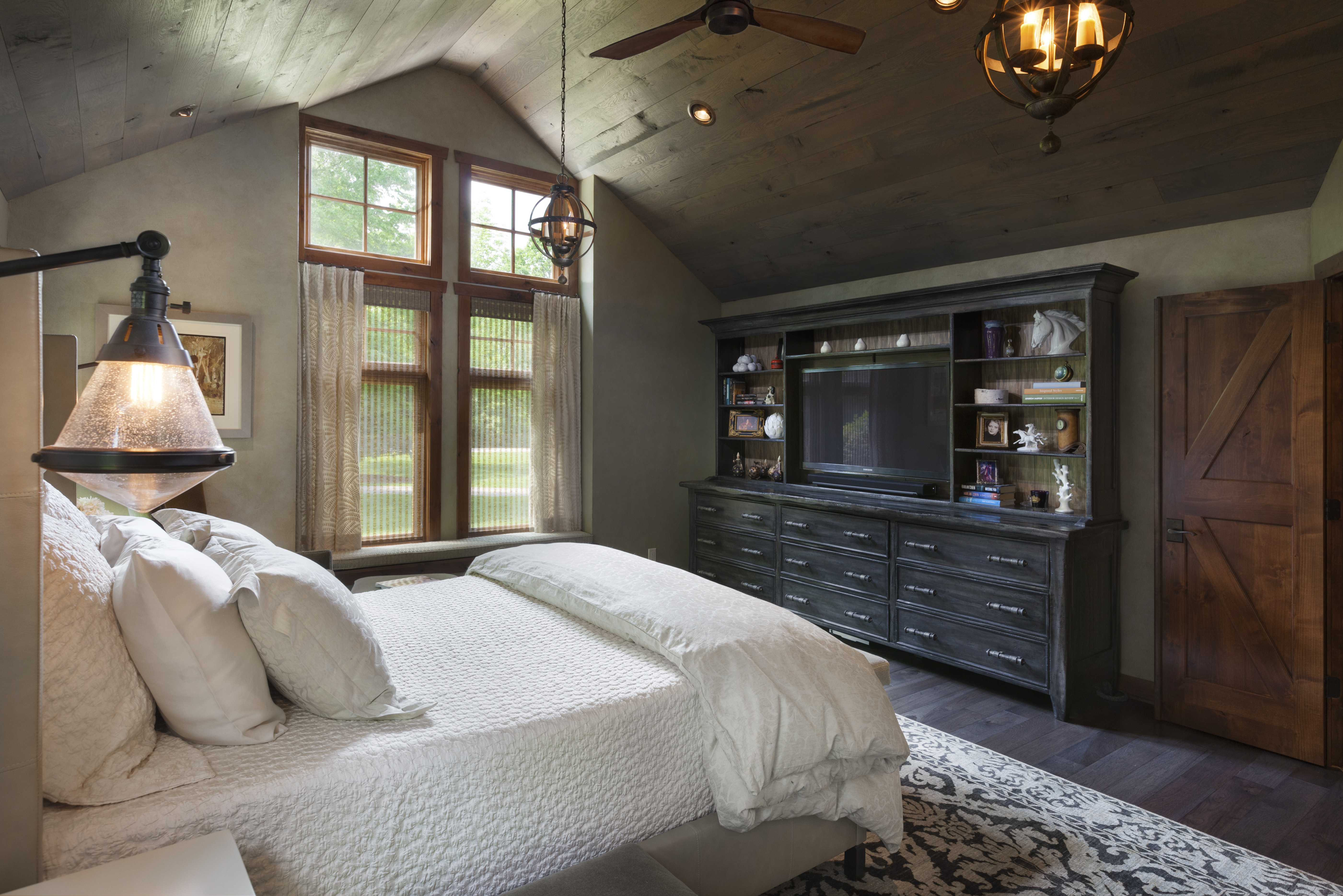 This Master Suite Remodel Was Inspired By Our Clientu0027s Love Of Refined  Rustic Design Elements. Aged Wood Tongue And Groove Clad The Ceiling And  Barn Doors, ...